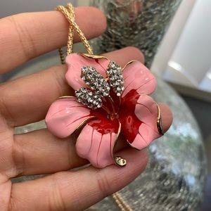 Unique Betsy Johnson enamel flower brooch/Necklace